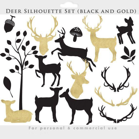 Imágenes Prediseñadas de venado - venado clip art sihouettes, negro, oro, cornamentas, brillo siluetas caprichosas, bosque, hoja, hojas, bellotas, árbol, digital
