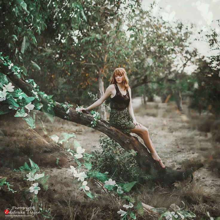 Ekaterina Troyan Art & Creative okeyteam kate troyan photo girl portrait woman red hair mistic dress green forest tres elf