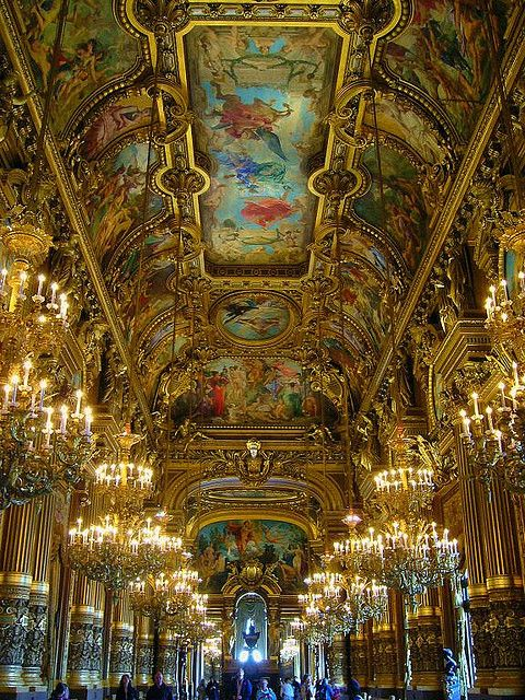 The Grand Foyer inside Palais Garnier in Paris, France (by tiffanyess).
