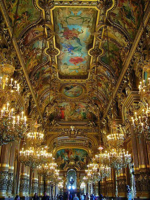 The Grand Foyer inside Palais Garnier in Paris, France