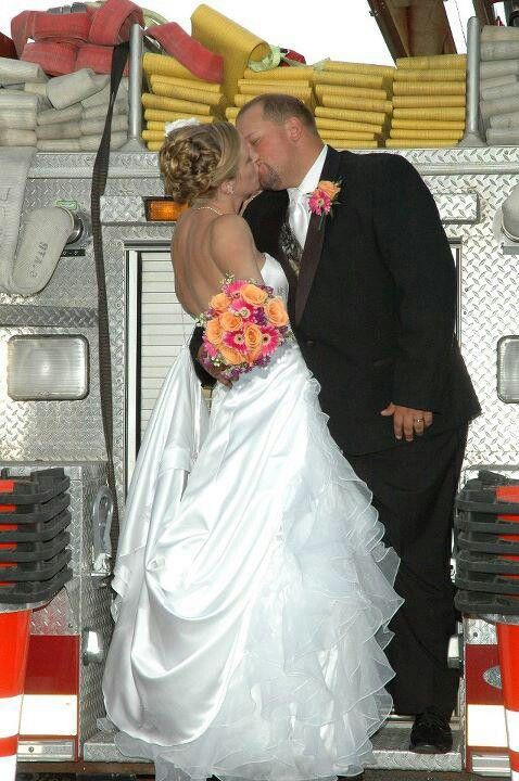 Firefighter wedding photo by Cathy Millard