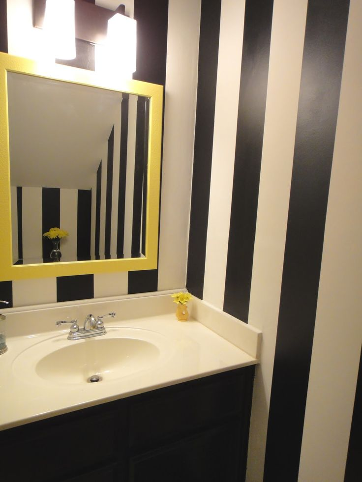 Website Photo Gallery Examples Chic Yellow Square Wall Mount Mirror Frames Over Single White Bowl Washbasin White Porcelain Top With Blak White Strip Wallpaper In Minimalist Half Bathroom