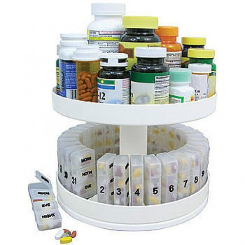 This looks pretty cool: Pill Holder Carousel Medicine Bottle Daily Organizer Center Rotating Cabinet Box