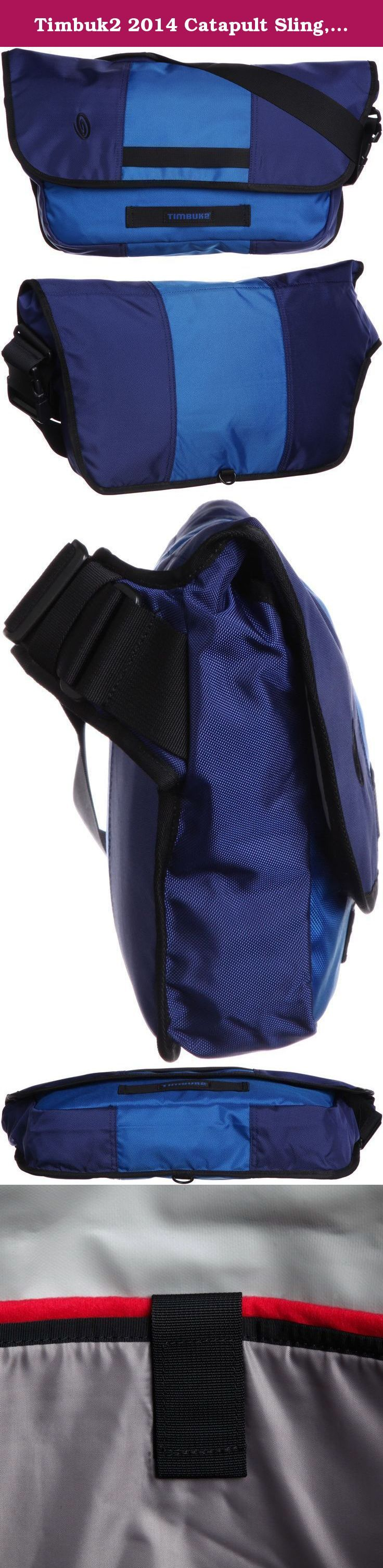 Timbuk2 2014 Catapult Sling, Blue, Large. This ballistic nylon mini-messenger sling does double-duty - cradling your NEW iPad, Kindle or small laptop in plush comfort, while repurposing your U-Lock as a bag latch. Slip it through the front loops and you're off to the races. Your beleaguered back pocket will thank you.