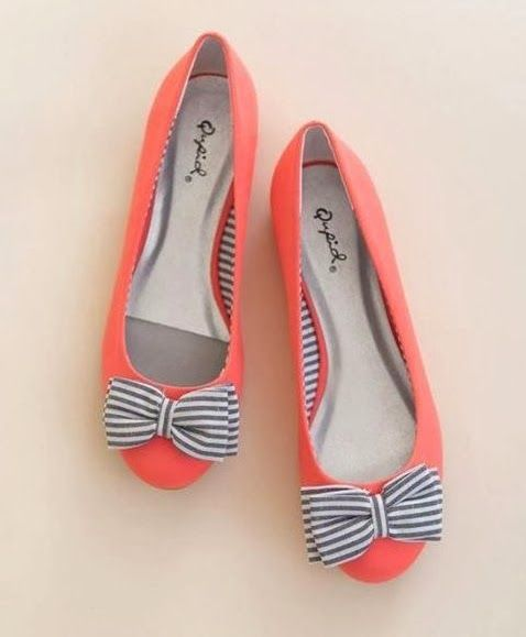 Coral Flats with Blue and White bow