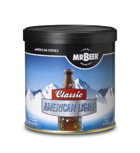 Mr. Beer Classic American Light Refill Brew Pack by Coopers DIY LLC dba Mr Beer. $17.82. Most popular brewing styles. Easy to use, just add water. 14 Day brewing process. All malt beer. Makes 2 gallon of All-Malt Beer. Produces 1 batch (2 gallon total) of All-Malt style beer. Includes: 1 Can Classic American Light, 1 Packet Dry Brewing Yeast (under lid of HME), 1 Packet No Rinse Cleanser, and Instructions.