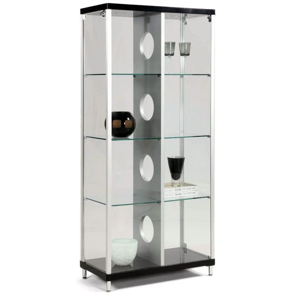 Somette Modern Silver Black 2 Door Glass Curio By Dining Room