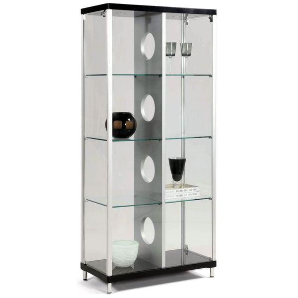 Modern Silver Black 2 Door Glass Curio