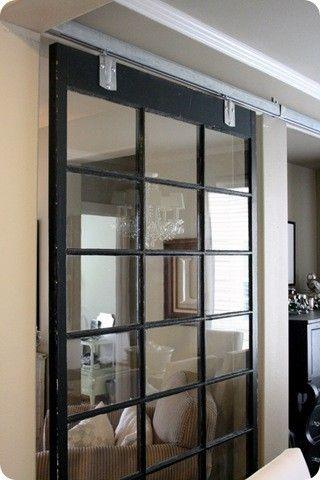 love the sliding doorIdeas, Barn Doors, Old Windows, Living Room, Barns Doors, Vintage Windows, Salvaged Windows, Room Dividers, Sliding Doors
