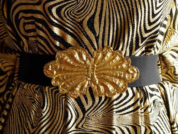 Stretchgürtel breit Schwarz gold Taillengürtel