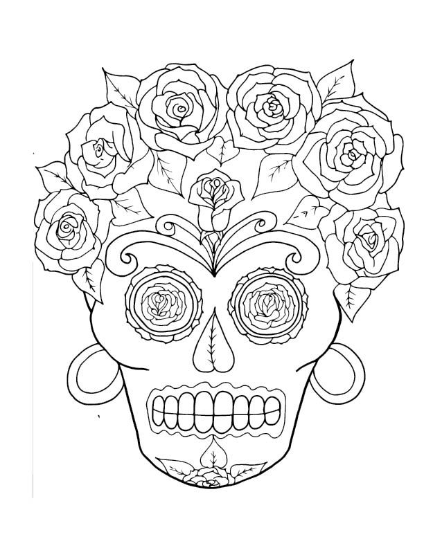 Coloring Pages For Adults Of Skulls : Sugar skull coloring pages adult books for