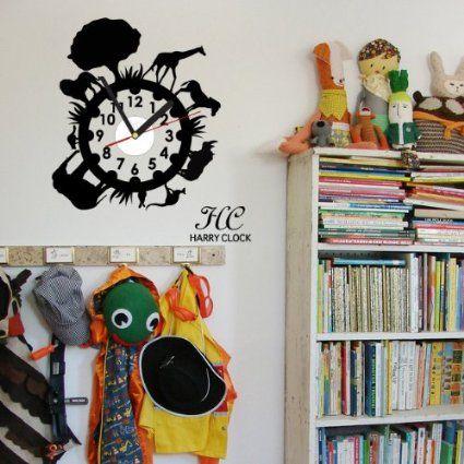 Amazon.co.jp: ウォールステッカー x 掛け時計 動物園 HARRY CLOCK hc-0053 ブラック: ホーム&キッチン