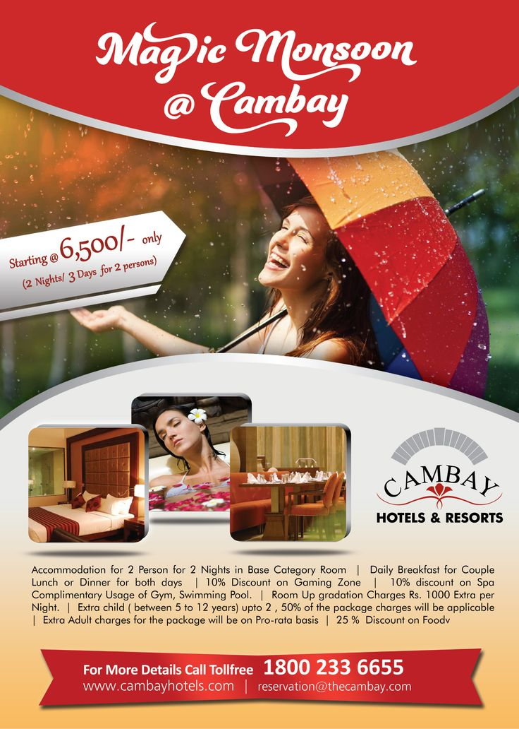 #CAMBAY #Hotels & #Resorts ANNOUNCE #MONSOON MAGIC #PACKAGE. For More Details: http://bit.ly/X1RweC  #monsoonpackages #monsoonoffers #monsoonhoteldeal