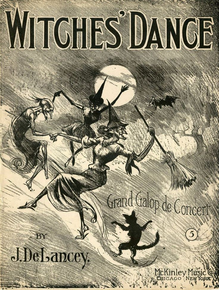 Witches Dance Sheet Music Cover - I like the dancing cat on this one.