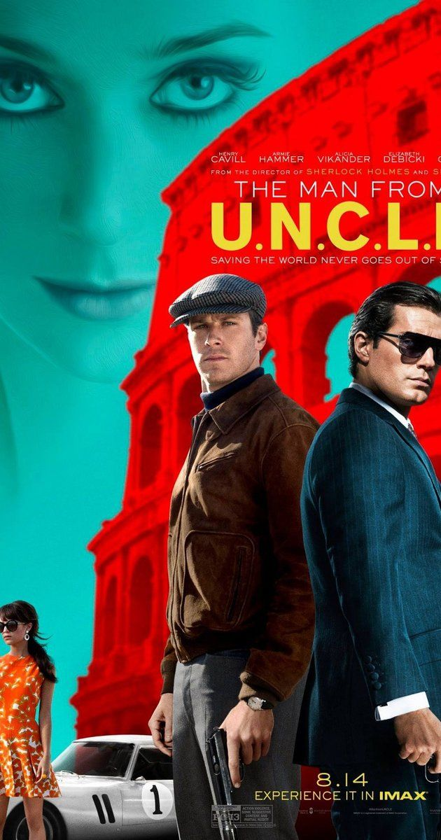 Directed by Guy Ritchie.  With Henry Cavill, Armie Hammer, Alicia Vikander, Elizabeth Debicki. In the early 1960s, CIA agent Napoleon Solo and KGB operative Illya Kuryakin participate in a joint mission against a mysterious criminal organization, which is working to proliferate nuclear weapons.