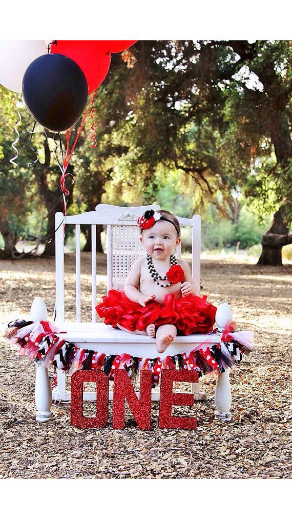 Red, black, white baby headband-Minnie Mouse headband-birthday party-photography prop on Etsy, $12.50