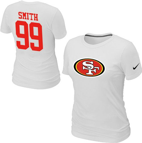 Nike San Francisco 49ers 99 SMITH Name & Number Women's TShirt White