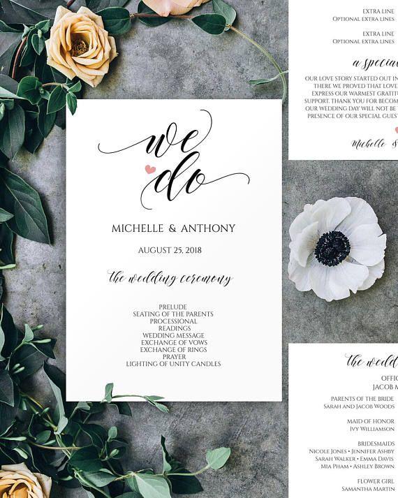 Wedding Program Templates, We Do Wedding Program, #weddings #invitation @EtsyMktgTool http://etsy.me/2z9Aq4P #ceremonyprogram #calligraphy