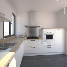 cuisine design blanche brillante style scandinave implantation en l plan de travail chne gris
