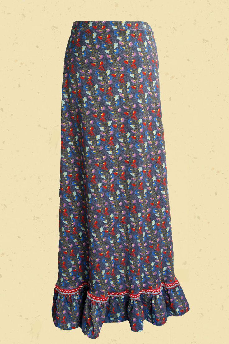 Talulabelle maxi-rok met borduur bloemenprint maxi skirt denim look floral print blue red green