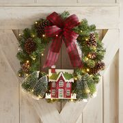 "Christmas Village LED Pre-Lit 24"" Wreath"