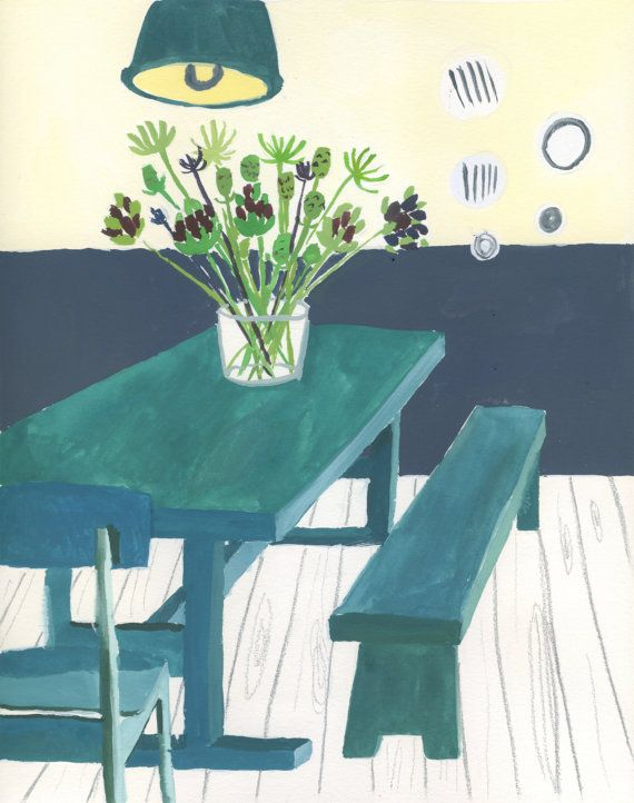 Green Dining Room Giclee Print by SarahDouglasArt on Etsy