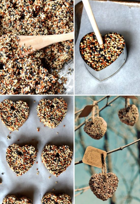 DIY birdseed hearts  I wanna make these to put outside my grandparents nursing home window. They'd love this.