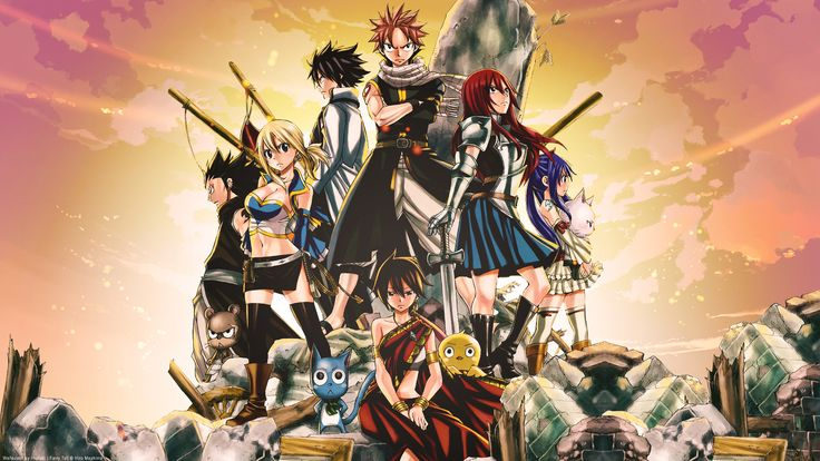 Films Fairy Tail The Movie: Phoenix Priestess  Anime Lucy Heartfilia Natsu Dragneel Erza Scarlet Gray Fullbuster Wendy Marvell Gajeel Redfox Happy (Fairy Tail) Charles (Fairy Tail) Panther Lily (Fairy Tail) Éclair (Fairy Tail) Momon (Fairy Tail) Fond d'écran