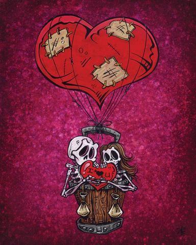 Day of the Dead Artist David Lozeau, Love Will Lift Us Up, Day of the Dead Art, Dia de los Muertos Art, Sugar Skull Art, Candy Skull, Skull Art, Skeleton Art