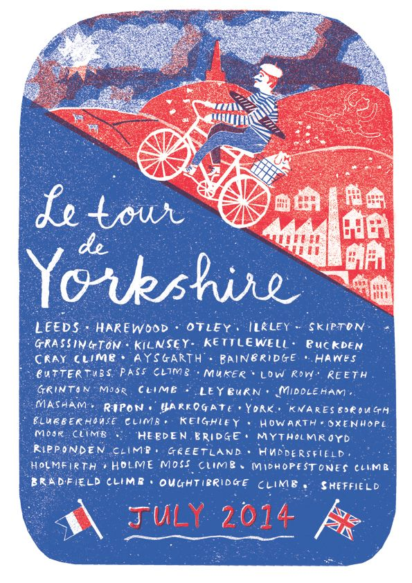 Posters - Louise Lockhart 2 colour risograph for the Tour de France coming through Yorkshire summer 2014 print