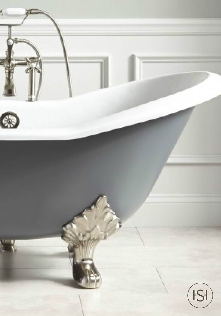 With its trendy painted exterior, this cast iron slipper tub adds colorful flair to your master bath. The gray exterior will add a statement to the traditional style of your bathroom.