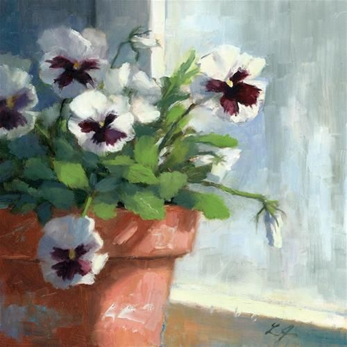 "Daily+Paintworks+-+""Peeking+Pansy""+-+Original+Fine+Art+for+Sale+-+©+Linda+Jacobus"