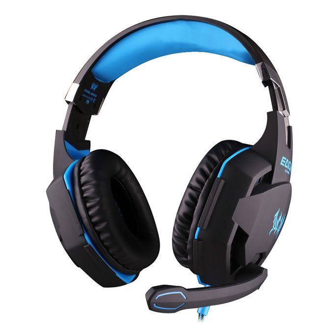 Earphone Wired Gamer Headphone Stereo Sound Headsets with Mic LED Light for Computer PC Gamer-Blue Rear-Hang Gaming Headset