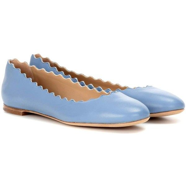 Chloé Lauren Leather Ballerinas ($297) ❤ liked on Polyvore featuring shoes, flats, ballet flats, blue, leather shoes, ballet pumps, blue ballet flats, blue flats and ballet flat shoes