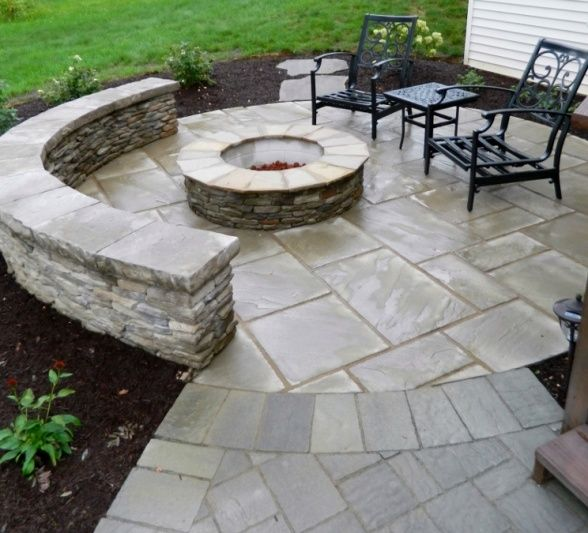 Paver patio with firepit and sitting wall....how about this @Hannah Mestel Cahoon?