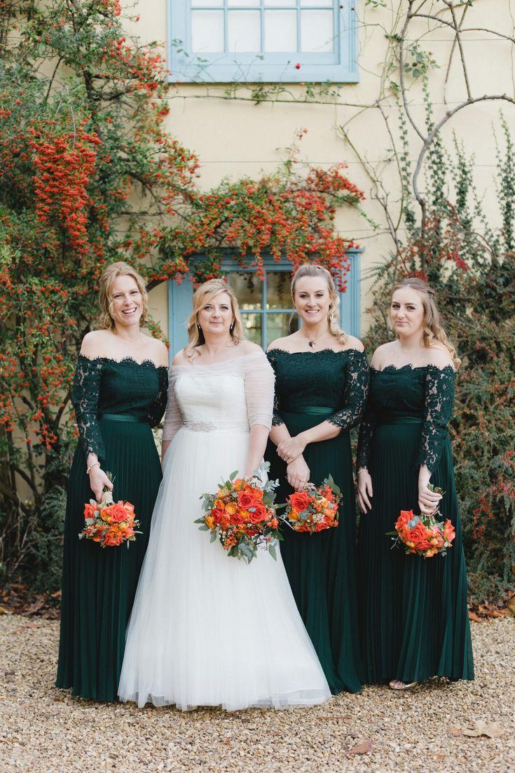 Autumn wedding at South Farm. La Sposa bridal gown and forest green Coast bridesmaid dresses.