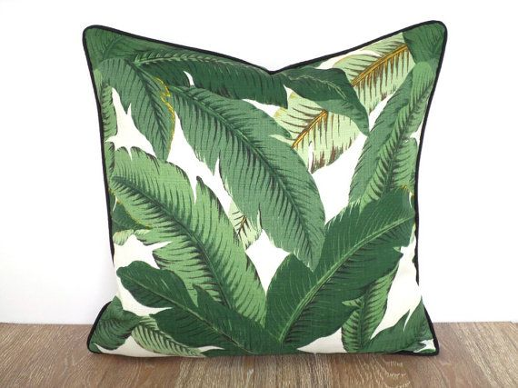 Tropical throw pillow case swaying palm leaf fabric, 20 inch decorative pillow for beach cottage decor, green outdoor cushion black piping by anitascasa. Explore more products on http://anitascasa.etsy.com