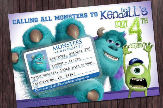 Monsters University 1 Mike Sully - Birthday Party Invitation Printable on Etsy, $13.99