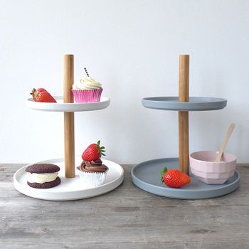 Ceramic And Wood Etagere Cake Stand
