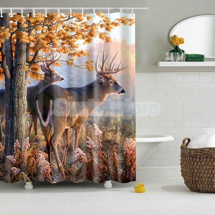"Fabric Bathroom Shower Curtain 71"" Bath Tube Divider Drapes Hooks Set #24"