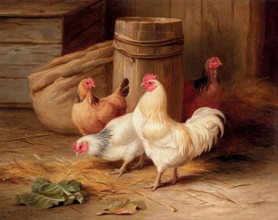 Edgar Hunt (English, 1876-1953) - Cockerel and chickens, 1913