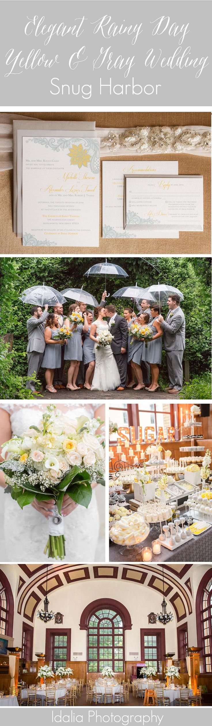 Elegant Rainy Yellow and Gray Wedding at Snug Harbor in Staten Island, NY | Yellow and Gray Wedding | Yellow and Gray Sweets Bar