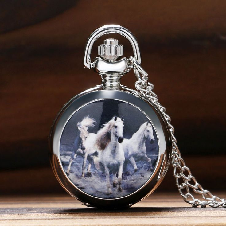 Luxury Small Horse Design Quartz Fob Pocket Watch with Fashion Pendant Sweater Necklace Chian Gift To Women  Free Drop Shipping