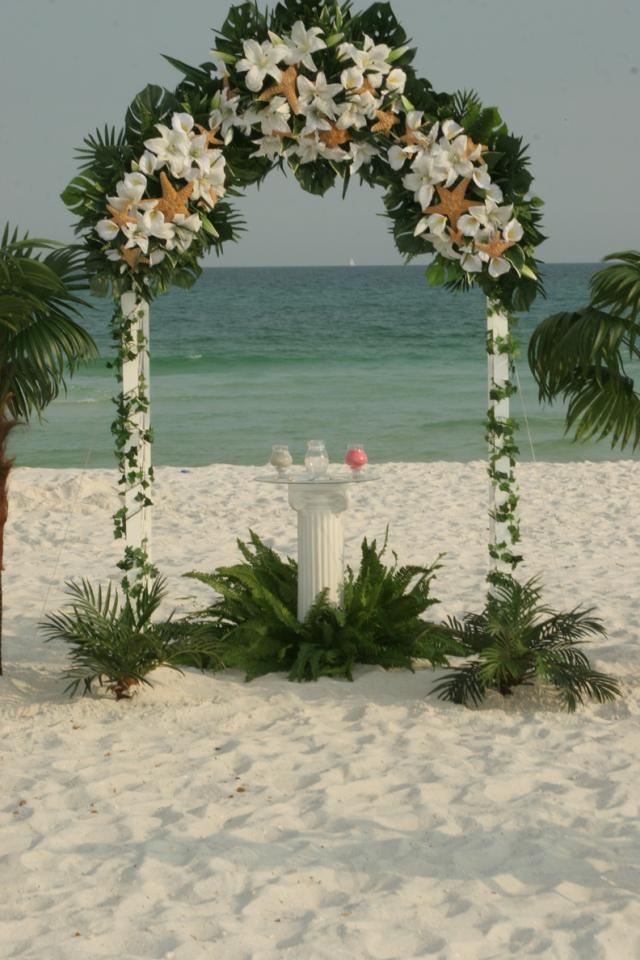 tropical arrangeements for wedding archs | Beach Weddings Decorations | Navarre Beach Wedding | Beach Wedding ...