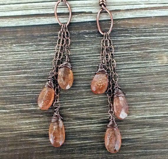 Sunstone Wire Wrapped Briolette Earrings in Copper, copper earrings, bohemian earrings, boho earrings, dangle earrings, boho, bohemian