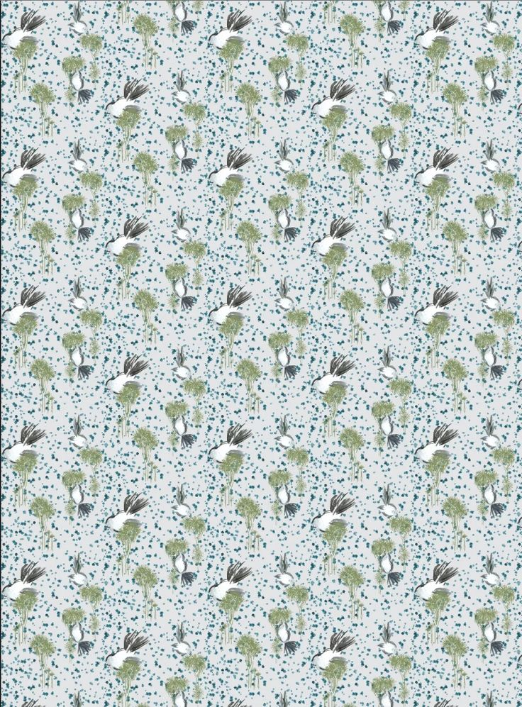 Verity Morison - Fantail textile design repeat #manuka #flowers #cabbagetree #fantail #textile
