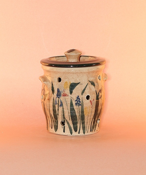Floral Designs on Porcelain: Garlic Crock with Garden Green Decoration  Size: 6 inches high