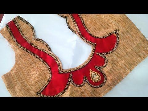 awesome blouse back neck designe cutting and stitching - YouTube