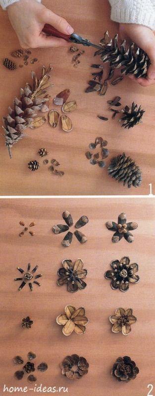 Цветы из шишек