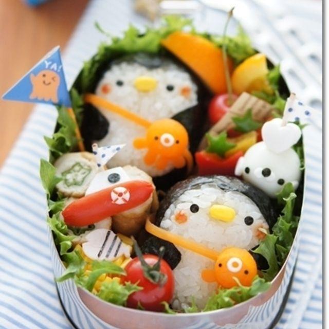 たこのポシェットでおでかけペンギンのお弁当!